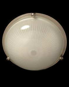 Marvin Alexander,Inc. Nickeled bronze and ribbed glass flushmount, three lights