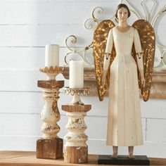 Standing Angel With Tin Wings Statue