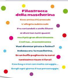 Filastrocca della mascherina Italian Language, Teaching Tools, Nursery Rhymes, Carnival, Classroom, Education, School, Kids, Mamma