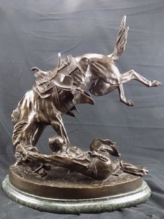 """Frederic Remington Bronze Sculpture """"The Wicked Pony"""" 2nd Period. 23"""" Signed by BCScollectibles on Etsy"""