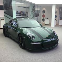 #110/991. The first and only known PTS Irish Green (irischgrün; non-metallic; Y79) 911 R awaiting delivery at the Porsche Exclusive lounge in the Zuffenhausen factory. For more on this car, check out the segment of posts I uploaded recently on @ptsrs with the hashtag #IrishGreenR.
