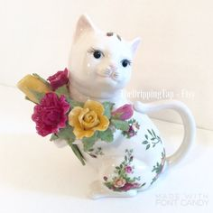 Royal Albert Old Country Roses Cat Teapot  by TheDrippingTap