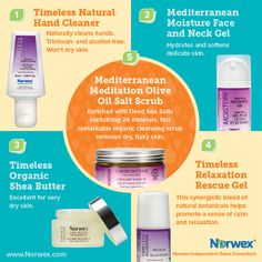 Norwex (1) Timeless Natural Hand Cleaner, (2) Mediterranean Moisture Face and Neck Gel, (3) Timeless Organic Shea Butter, (4) Timeless Relaxation Rescue Gel. For Facebook parties, online events and marketing.