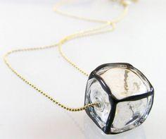 Lampwork glass cube pendant. Transparent hollow glass by anatglass