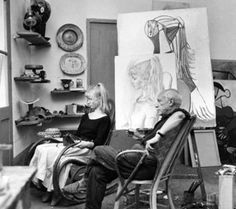 Pablo Picasso - Photos - Picasso and Sylvette David, 1954 year