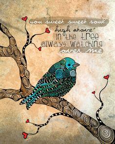 Sweet Soul / Blue Bird / original illustration ART Print SIGNED / 8 x 10 / NEW. $20.00, via Etsy.