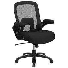 Flash Furniture HERCULES Series Big & Tall Mesh Executive Swivel Chair with Fabric Padded Seat and Flip Up Arms, 500 lb, Black Big & Tall office chairs Cool Office Desk, High Back Office Chair, Best Office Chair, Black Office Chair, Executive Office Chairs, Swivel Office Chair, Ergonomic Office Chair, Herman Miller, Home Office Furniture