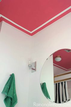 Pink and White Trim Painted Ceiling Design • Painted Ceiling Designs • Tips for Painting Ceilings