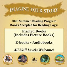 SUMMER READING PROGRAM UPDATE: Regular printed books, picture books, e-books and audiobooks are all welcome! Learn how to participate and earn points toward badges, a certificate and more at jhlibrary.org/srp2020. #SRP2020 #ImagineYourStory