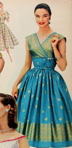 This design from Sears in 1956 was made in cotton with a metallic print to imitate the luxurious sari silks