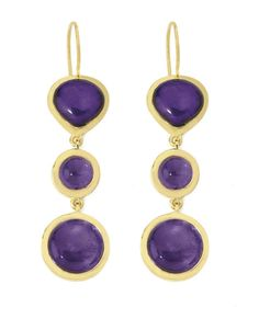 Jorge Revilla Sterling Silver with Gold Vermeil and Amethyst cabochon earrings
