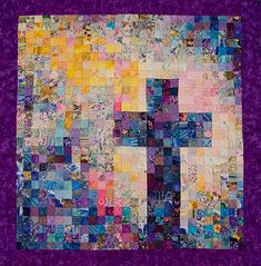 Christian Cross Quilt - Watercolor Art Quilt - Peacock Colors via Etsy