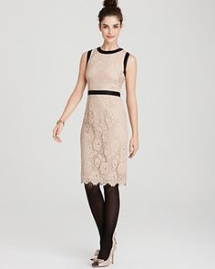 Milly Marcella Chantilly Lace Marcella Bow Sheath Dress