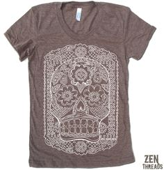 Womens DAY of the DEAD T-Shirt american apparel S M L XL (15 Colors Available) by ZenThreads on Etsy https://www.etsy.com/listing/63545366/womens-day-of-the-dead-t-shirt-american