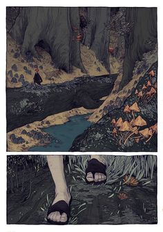The Hunt-Forest Art Print by Thomke Meyer Illustration - X-Small Art And Illustration, Watercolor Flower, Comic Layout, Graphic Novel Art, Arte Sketchbook, Forest Art, Forest Drawing, Poses References, Arte Horror