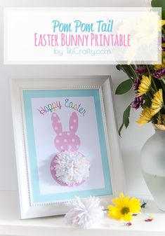 Pom Pom Tail Easter Bunny Printable {Easter Decor and Craft}