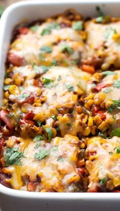 Healthy Mexican Casserole... cheesy veggie perfection and only 250 calories per yummy serving