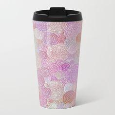 Abstract pink rosegold glamour glitter circles for ladies Metal Travel Mug