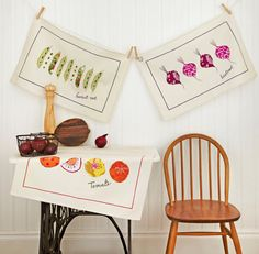Set 3 Dish Tea Towels  French Market Vegetables  by mountainlodge, $19.95