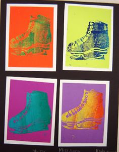 For this project, I showed a powerpoint on Pop Art and Andy Warhol& famous prints. We defined what popular culture was in his day and wha. Andy Warhol, Classe D'art, 7th Grade Art, Ecole Art, School Art Projects, Middle School Art, Art Lessons Elementary, Art Lesson Plans, Art Classroom