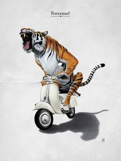 Tiger on Vespa by Rob Snow. 111 artists and illustrators from around the world have come together to form the Creative Pet Project. Art And Illustration, Vespa Illustration, Canvas Fabric, Canvas Prints, Art Prints, Canvas Canvas, Canvas Artwork, Canvas Size, Rob Snow