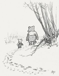 """Favorite Winnie & Piglet quote: """"Piglet sidled up to Pooh from behind."""" he whispered. """"Yes, Piglet?"""" """"Nothing,"""" said Piglet, taking Pooh's hand. """"I just wanted to be sure of you. Milne, Winnie-the-Pooh Winnie The Pooh Drawing, Winnie The Pooh Quotes, Winnie The Pooh Classic, What Day Is It, Illustration, Pooh Bear, Disney Quotes, Graphic, Childrens Books"""