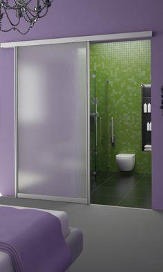 Sliding doors to the bathroom [ Specialtydoors.com ] #modern #hardware #specialty