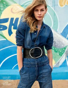 Sofia Mechetner poses on the beach for the April 6th, 2018 cover of ELLE France. Lensed by Myro Wulff, the Israeli model wears a denim jacket and jeans from Dior. Inside the fashion glossy, Sofia embraces the denim trend which has seen a major resurgence recently. Stylist Jeanne Le Bault dresses the blonde in designs