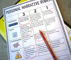 Change to fit intermediate - Use this FREE personal narrative writing rubric for assessment and to help students internalize the elements of a great personal narrative Writing Strategies, Writing Lessons, Writing Resources, Teaching Writing, Writing Activities, Writing Ideas, Teaching Ideas, Writing Rubrics, Writing Process