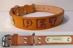 Custom Personalized Tan Leather Dog Collar -Free Embossing/Brass Tag