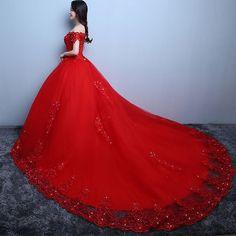 Neue Ankunft Rot/Weiß Große Hochzeit Kleider mit Kathedrale/Royal Zug Tüll mit Applique Frauen Brautkleid Plus größe Nach Maß