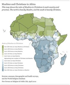 Muslims and Christians in Africa by Pew Forum #map #religion #africa