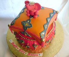 This cake was done for a client who was throwing a Moroccan themed baby shower for her friend complete with tents, saris, and ornate floor p. Baby Shower Cakes, Baby Shower Themes, Shower Ideas, Bollywood Cake, Bollywood Theme, Bollywood Baby Shower, Bavarian Cream Filling, Lemon Cream Cake, Pillow Cakes