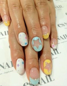 white blue and yellow on blank nails star nail design so pretty Dope Nails, Get Nails, Fancy Nails, Pretty Nails, Hair And Nails, Star Nail Designs, Cool Nail Designs, Nail Art Studio, Star Nails