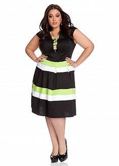 Ashley Stewart: Striped Full Skirt Dress