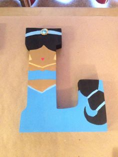 """Princess Jasmine from Aladdin """"L"""" Disney letter art. Mountable wooden letter. Customize your character and letter when you order on etsy! Shop DisneyByTheLetter!"""