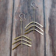 Fern Lily Hand forged brass Earrings Artisan by Tangleweeds