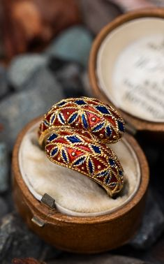 This incredible Grelce enamel ring is crafted of yellow gold with stunning detail. The ring is currently a size and we offer complimentary resizing to fit. Emerald Jewelry, Enamel Jewelry, Gold Ring Designs, Nail Designs, Soul Connection, Yellow Gold Rings, Cocktail Rings, Bracelet Watch, Jewlery