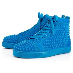 5fe90a6fecc CHRISTIAN LOUBOUTIN Louis Spikes Men S Flat Egyptian Blue Suede - Men Shoes  - Christian Louboutin.
