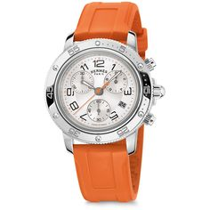 Hermès Clipper Gm Watch ($4,250) ❤ liked on Polyvore featuring jewelry, watches, chronograph watches, hermes watches, chronograph watch, steel watches and orange jewelry