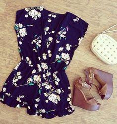 dress romper floral floral romper blue shoes bag shorts blouse navy