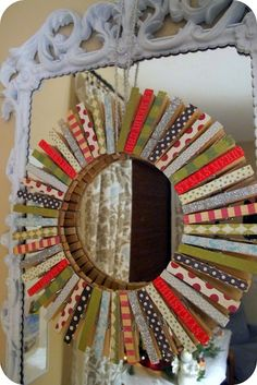 Clothespin Wreath - wrapping paper scraps instead of scrapbook paper