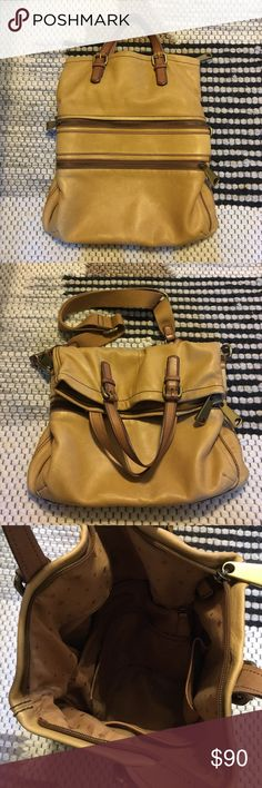 Fossil hobo bag Multiple pockets and removable cross body strap. Small stained patch from dark wash denim on backside of bag but otherwise excellent condition. Great quality leather. Fossil Bags Hobos