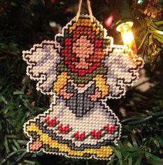 angel plastic canvas cross stitch ornament