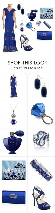 """Dark blue"" by mehrak ❤ liked on Polyvore featuring Tadashi Shoji, Kendra Scott, HOMANZ, Guerlain, Niquesa, Royal Premium, Roger Vivier and GUESS"
