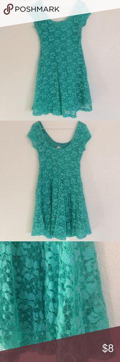 Lace LA hearts mini dress Pretty mini dress with defined waist. Pretty green lace. 31 inches long. 15 inch bust LA Hearts Dresses Mini