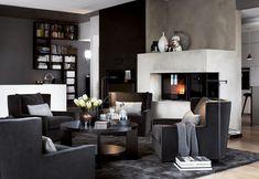 Living Room Setup, Cozy Living Rooms, Living Room Grey, Living Room Interior, Living Spaces, Living Room Inspiration, Home Decor Inspiration, Dark Interiors, Classic Interior