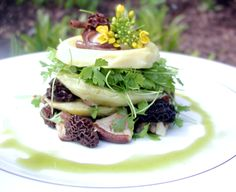 Artichoke Tower Plated Course by Peter Callahan Catering - What a stunning vegetarian plate.