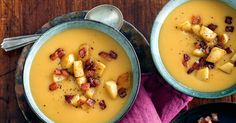 Create a real winter warmer delight with this sensational pumpkin and apple cider soup topped with caramelised apple and crispy bacon croutons. Crouton Recipes, Soup Recipes, Cooking Recipes, Healthy Recipes, Savoury Recipes, Healthy Soup, Healthy Cooking, Healthy Eats, Keto Recipes