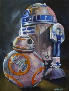 Star Wars R2D2 and BB-8 original acrylic painting on canvas 11.5 x 15.5